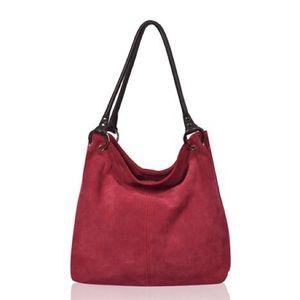 Owen Barry Red Suede Handbag